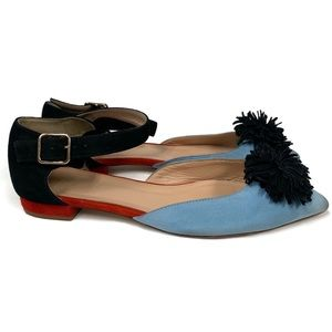 J. CREW Suede Pom-Pom Color Block Sandals BLUE 6
